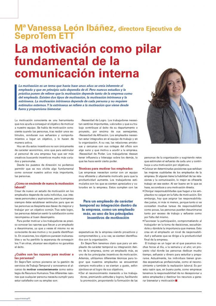 Artículo de Vanessa León para Equipos y Talento